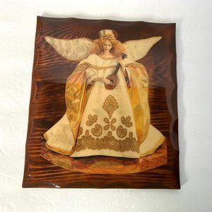 Vintage Wood Angel Plaque Lacquered Glossy Wooden
